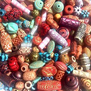 60+  pcs Tribal Style Mix Design Mix Sizes Multi Colour Acrylic Beads