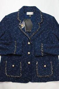 NWT St. John Collection Marine Blue White Fleck Santana Boucle Knit Blazer 14