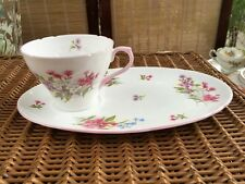 "Vintage English Fine Porcelain Shelley ""Stocks"" Tennis Set Tea Cup & Saucer"