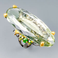 Vintage35ct+ Natural Green Amethyst 925 Sterling Silver Ring Size 7.5/R118493