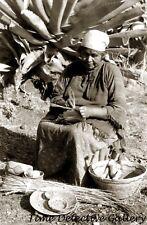 A Cahuilla Indian Woman Basket Maker, California - Historic Photo Print