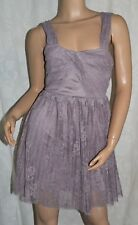 TOPSHOP Size 6 Gorgeous Cute Pleated Lace Party Prom Dress Mocha Mink CLEAN VGC