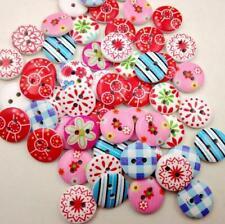 100 Stück Holzknöpfe Buttons 15mm 2 Löcher Blumen Nähen Kleidung Deko Basteln