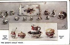 CS09.Vintage Tucks Postcard.The Queens Doll House.China tea service.Toilet set