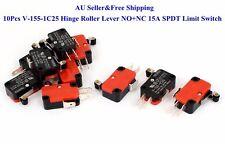 10Pcs V-155-1C25 Hinge Roller Lever SPDT 15A NO+NC Micro Switch New AU