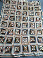 Vintage Handmade Crocheted Granny Square Afghan Throw Blanket Brown Blue Ivory