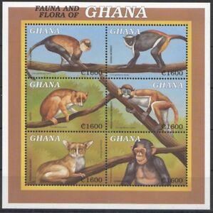 Ghana 2000 MNH SS, Diana Monkey, Galago, Chimpanzee, Potto