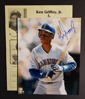 Ken Griffey Jr. Early Signed 8X10 Photo - Mariners ROOKIE ERA AUTO w/ Show Flyer