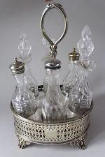 Antique Victorian EPNS Cruet Stand by Fenton Bros & Cut Glass Bottles circa 1870
