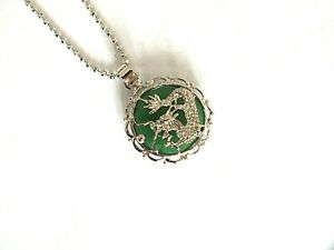 CHINESE GREEN JADE DRAGON AMULET PENDANT COIN NECKLACE ZODIAC ANIMAL BIRTHDAY A2