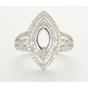 Marquise Cut 10×5mm Natural Diamond Women Bridal Ring Setting 14K White Gold