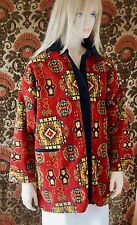 Vtg 1980s Hand Knotted Wool Carpet Jacket Coat Love Apples by Stephanie Santa Fe