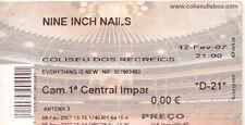 Nin Nine Inch Nails Trent Reznor Used Concert Ticket Portugal 12-02-2007