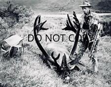 Antique Hunting Repro 8X10 Photo Famed Michigan Bowhunter Fred Bear With Caribou