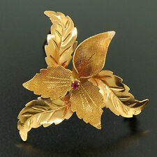 Vintage 18K Rosy Yellow Gold 6 Textured Leaf Brooch Pin w/ 6pt Blood Red Ruby