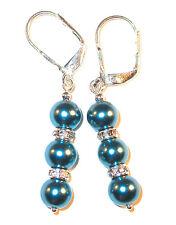 GLASS FAUX PEARL Sterling Silver Dangle Earrings TEAL