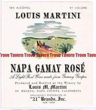 Unused 1940s CALIFORNIA St Helena LOUIS MARTINI NAPA GAMAY ROSE Wine Label