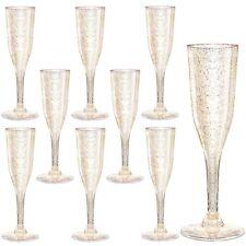 105 Pieces Plastic Champagne Glasses Gold Glitter, 5 Oz Plastic Champagne