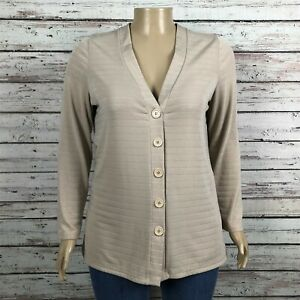 Coldwater Creek Travel Jersey Knit Cardigan Sweater Jacket XL 16 Beige Stripe
