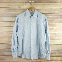 TOMMY BAHAMA Men's Long Sleeve Button Front Shirt 16 1/2 34-35 Blue Striped
