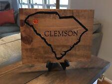 "Clemson South Carolina State Outline Wood Carved Sign 11"" x 15"""