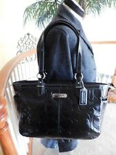 Coach Gallery Embossed Black Patent Leather Tote Shoulder Handbag F19462