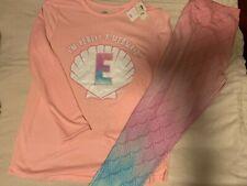 NWT Justice Pajamas Girls Size 18/20 I'm Really A Mermaid With Letter E