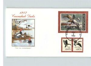 1982 Canvasback DUCKS, $7.50 Migratory Bird Hunting, Dept. of Interior, FIRST DA