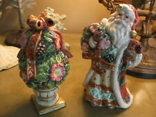 Vintage Fitz & Floyd Christmas Santa With Wreath & Topiary Salt & Pepper Holiday