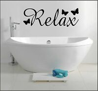 RELAX ~ BATHROOM SHOWER BEDROOM WALL ART STICKER QUOTE HOME DECOR WORDS PHRASES