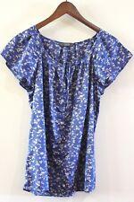 Jacqui E Womens Size 12 M Blue & White Multi-coloured Floral Cap Sleeve Blouse