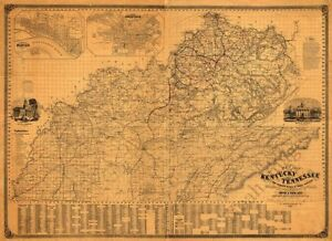 Map of Kentucky and Tennessee c1861 36x24