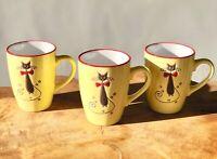 3 x 300 ml Kaffeetasse Kaffeebecher Becher Keramik Kaffee Mug Katze gelb 31634