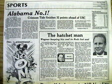 1991 hdl newspaper UNIVERSITY OF ALABAMA wins NCAA college football championship