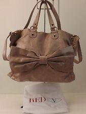 RED VALENTINO BIG BOW DUSTY PINK PETAL LEATHER TOP HANDLES CROSS BODY HANDBAG