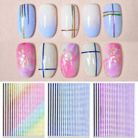 3D Colorful Laser Nail Stickers Platinum Gradient Rainbow Line  Adhesive Decals
