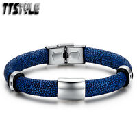 TTstyle Blue Leather Silver 316L Stainless Steel Clip Bracelet Wristband