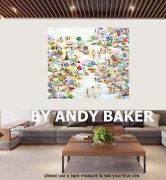 Original art painting print signed Andy Baker Beach  Australia bondi nsw Qld