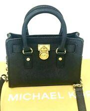 Michael Kors Black Bag Hamilton Mini Messenger Bag Crossbody Handbag Black/Gold