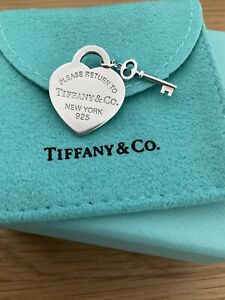 Genuine Tiffany & Co Return Heart And Key Sterling Silver Charm With Box