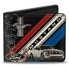 Men Wallet Bifold Black Ford Mustang Tri Bar Logo Stripe Blueprint Genuine