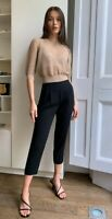 Babaton Aritzia Cohen Pleated Cropped Pants In Black Size 4