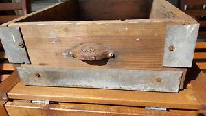 Antique Primitive Industrial Wood & Metal Drawer Box Bin Features Eastlake Pull