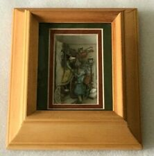 VTG 3D LAYERED PAPER SHADOW BOX Carriage Street Scene Diorama ANTON PIECK Framed