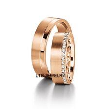 10K ROSE GOLD  HIS & HERS DIAMOND WEDDING BANDS RINGS SATIN FINISH