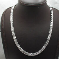 Domed Shiny Wheat Spiga Chain Necklace Anti-Tarnish Real 925 Sterling Silver