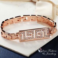 18K Rose Gold Plated Simulated Diamond Studded Retro Pattern Watch Band Bracelet