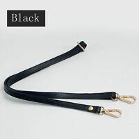 Black Real Leather Shoulder Strap Adjustable Crossbody Replacement Handbag Purse
