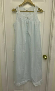 EILEEN WEST NIGHTGOWN   SLEEVELESS COTTON blue white SMALL