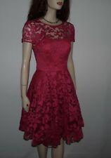 TED BAKER   Career Lace Pink Flare DRESS Size  2 US ,Size 0 Ted Baker